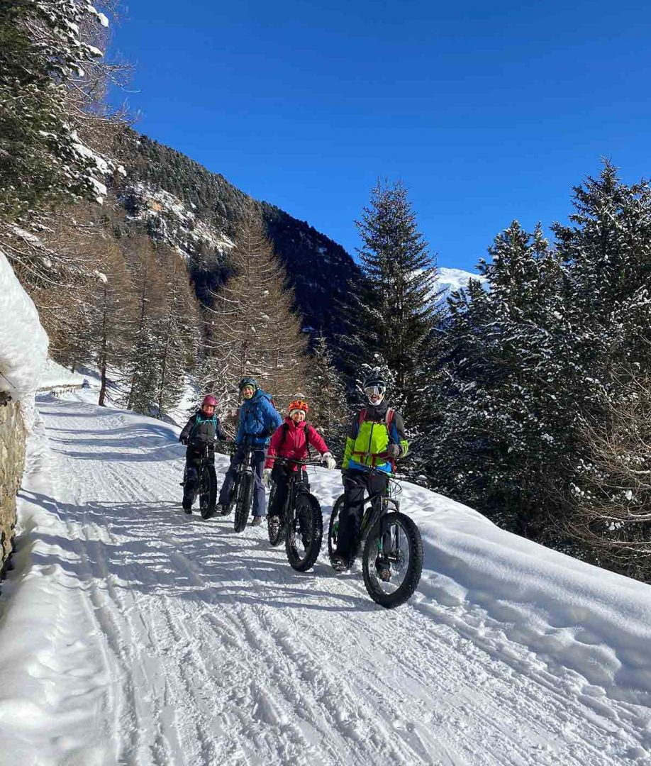 in fat bike sulla neve nel parco nazionale dello Stelvio.